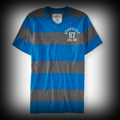 Aeropostale メンズ Tシャツ エアロポステール Aero 87 Striped VNeck Tee Tシャツ-アバクロ 通販 ショップ-【I.T.SHOP】 #ITShop