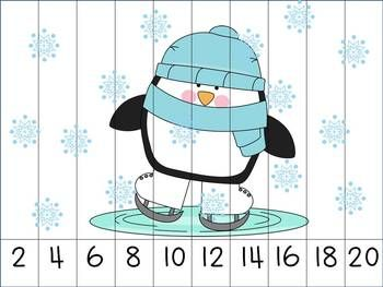 Winter Themed Skip Counting Puzzles. Here, students will practice counting by 2's to assemble the puzzle and reveal the winter picture!