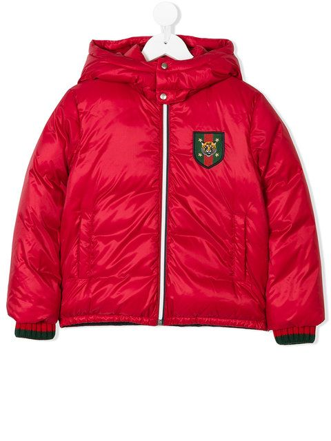 ac6c8fb4 Gucci Kids embroidered patch padded jacket   children fashion ...
