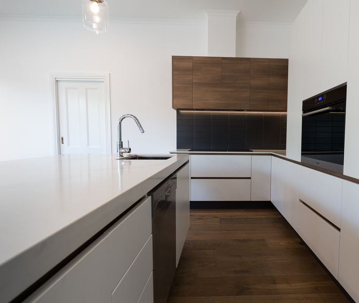 White Vinyl Wrap Kitchen With Timber Handle Reveal