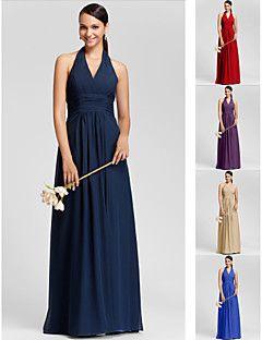 Robe de Demoiselle d'Honneur - Couleur Rubis/Pourpre/Bleu royal/Champagne/Marine foncé Fourreau Dos nu/Col en V Longueur ras du sol