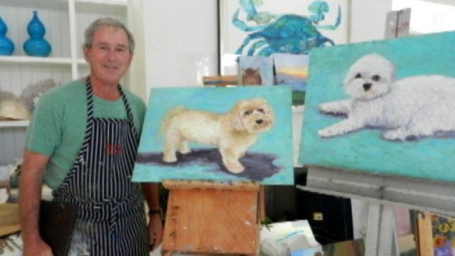George W. Bush's Art Teacher Says He's Painted 50 Dogs #georgebush #Presidents #dogs