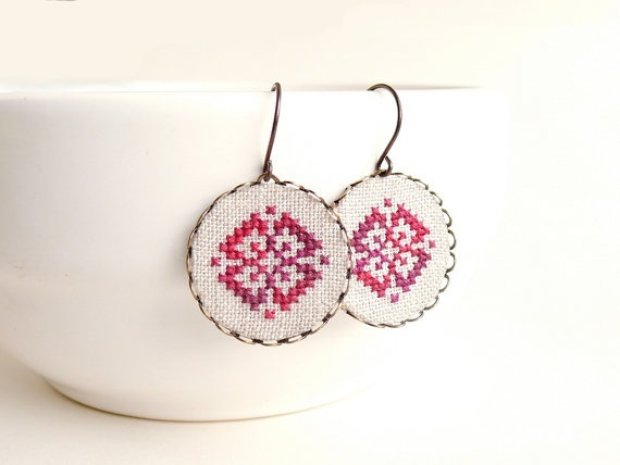 Cross stitch earrings Ethnic ornament in melange red by skrynka, $25.00