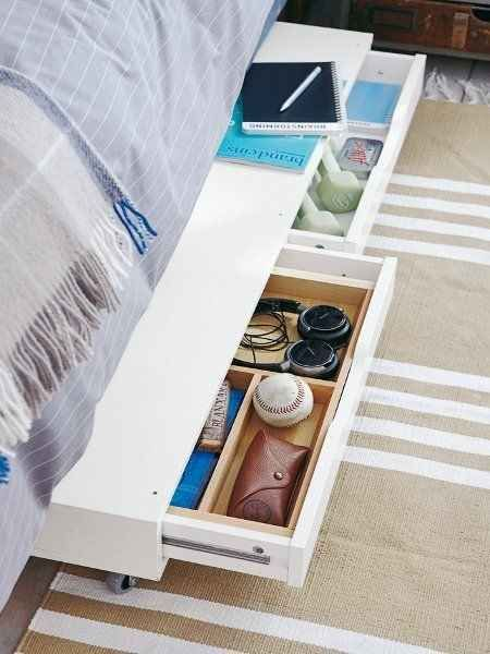 Just add casters to the Ekby drawer shelf for some slide-out under-bed storage.