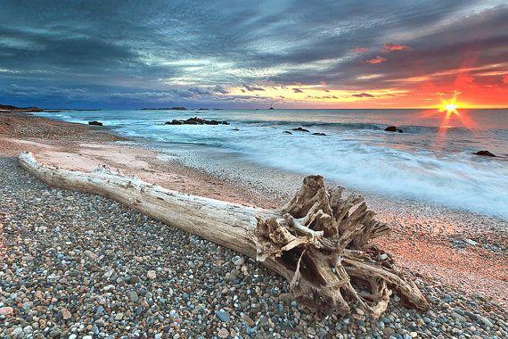 Metal Wall Art Beach Decor Metal Print Seascape Photography Sakonnet Driftwood Rhode Island
