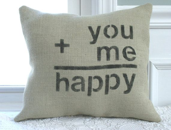 Burlap Happy Love Pillow on Etsy, $23.00