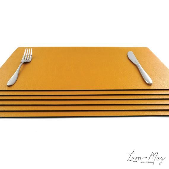 Large Leather Place Mats Sets Of 6 Mustard Yellow Table Mats Etsy Yellow Table Placemats Yellow Placemats
