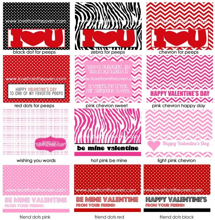 12 Free #Valentine's Day Treat Bag Topper #Printables at @LoveFromTheOven