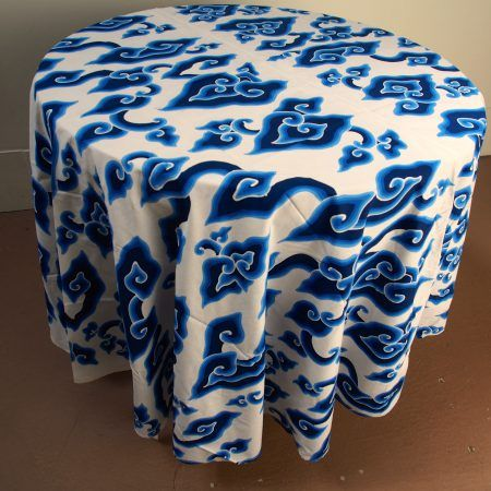Round table cloth, batik tulis, mega mendung cloud pattern, 70″ diameter – The Language of Cloth