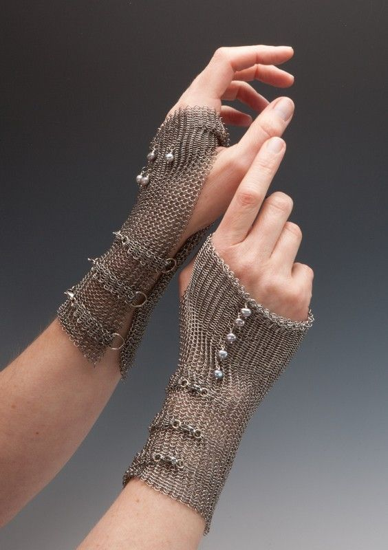 These Chainmaille Gloves are available with a variety of pearls or stones - Artist Elaine Unzicker