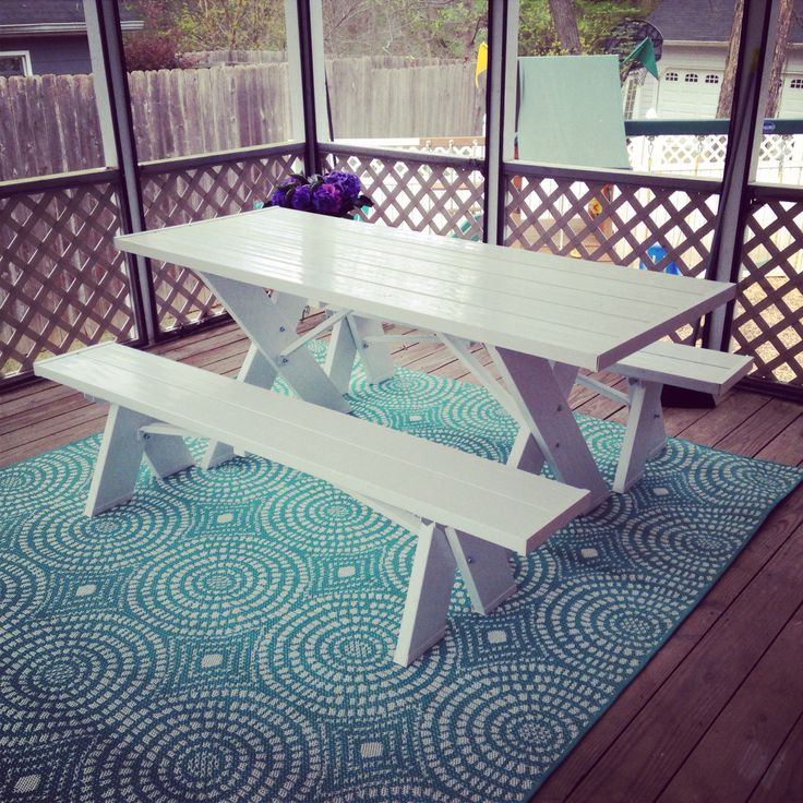 Target Outdoor Rug And Amazon.com White Picnic Table. So Ready For Outside  Dining