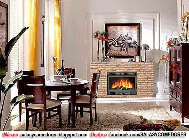 Decoraci n de comedor con chimenea como decorar paredes - Chimeneas rusticas precios ...