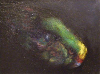 Chris Wilkie contemporary new zealand art painting #15 dark night - kakariki