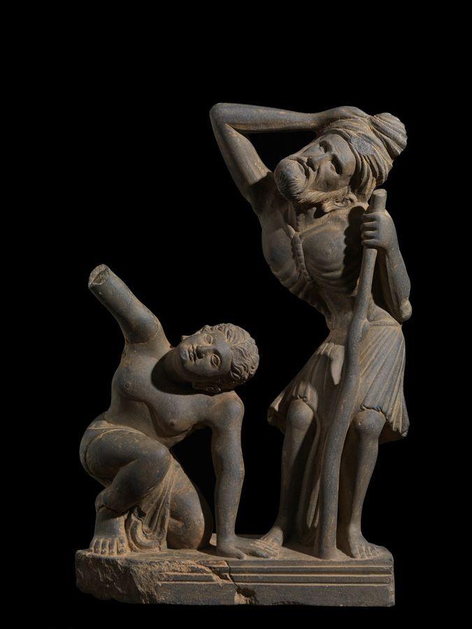 Figures in Awe Grey Schist Gandhara Region 2nd century AD - Nancy Wiener Gallery
