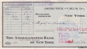 The check that DC used in 1938 to buy Superman.