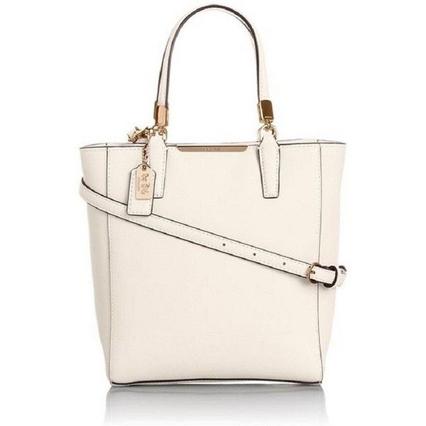 Coach Madison Saffiano North South Mini Tote Crossbody Bag ($310) ❤ liked on Polyvore featuring bags, handbags, tote bags, white, leather crossbody purse, purse crossbody, coach tote bags, cell phone purse crossbody and coach crossbody