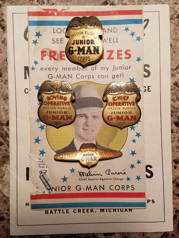 """1936 Complete Set of Melvin Purvis """"Junior G-Man Corps"""" Post Cereal Premium Shields, Manual and Prize Catalog"""