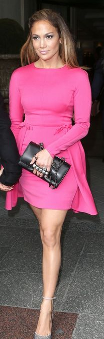 Jennifer Lopez: Dress, shoes and purse - Valentino Valentino Crystal-Covered Tango Stiletto Pump Valentino - 100mm Calf Suede Crystals Pumps Valentino Crystal-embellished suede pumps Valentino Crystal-Tan-Go Pump similar style dress by the same designer Valentino - Wool Cashmere Knit Dress Valentino Va Va Voom Noir