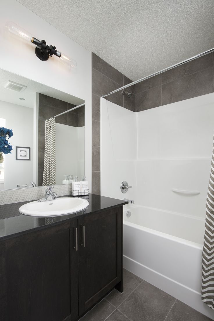 Ensuite in Creations by Shane Homes Arbor Duplex Showhome in Legacy in southeast Calgary #bathroom #ensuite