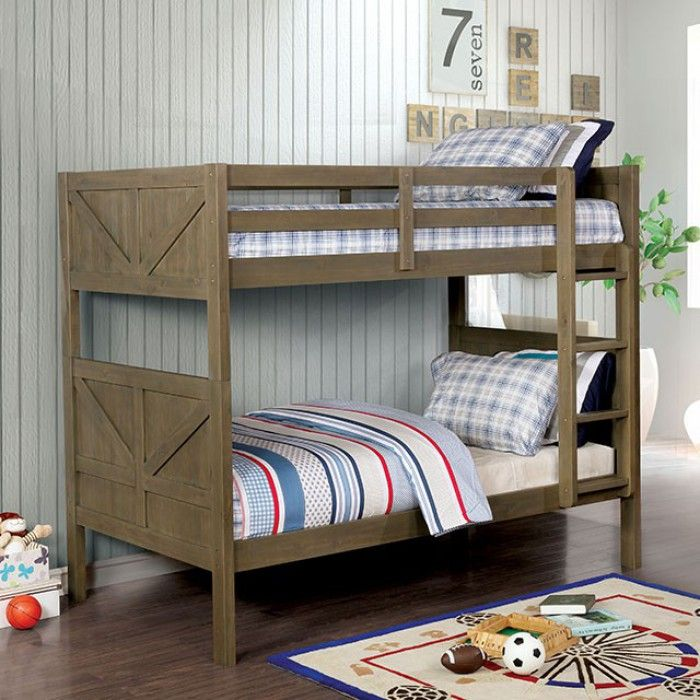 Cm Bk914 Kitchener Gray Finish Wood Twin Over Twin Convertible Bunk Bed Bunk Beds Twin Bunk Beds Convertible Bunk Beds