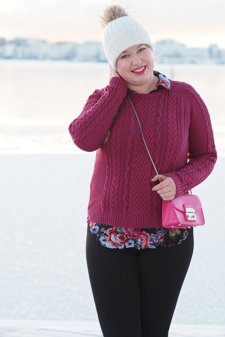 Pitsiniekka | Cable Knit and Floral Shirt Outfit with Furla Metropolis Mini Pinky