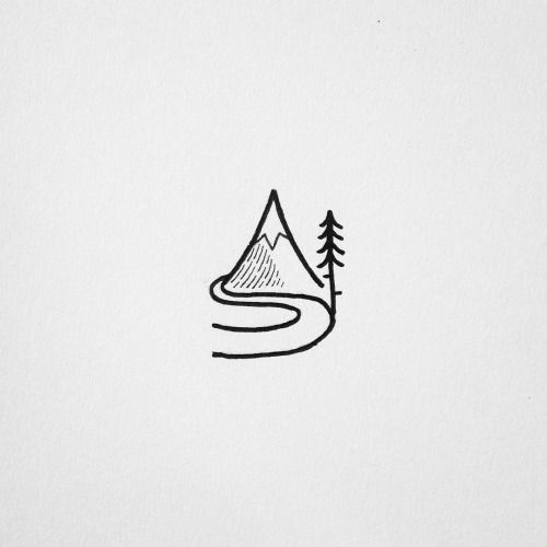 Mountain scene line illustration