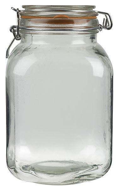 19,00 - För inläggning, sylt eller förvaring av t.ex. torrvaror. Burk och lock i glas, snäpplås och gummiring för tät förslutning.