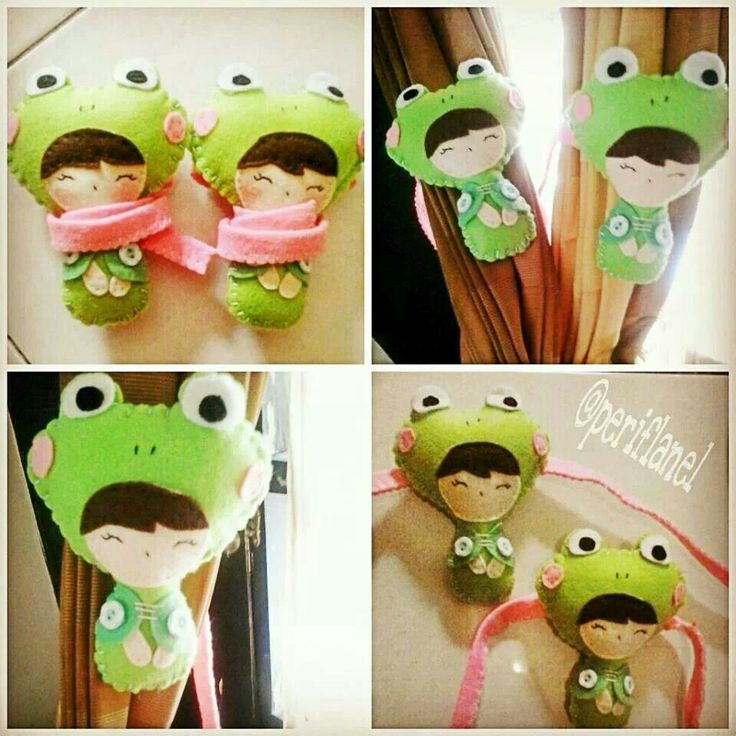 Curtain Holder. Felt. Handmade. Frog Girl.