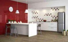 peinture pour cuisine blanche et rouge laquée avec îlot central moderne