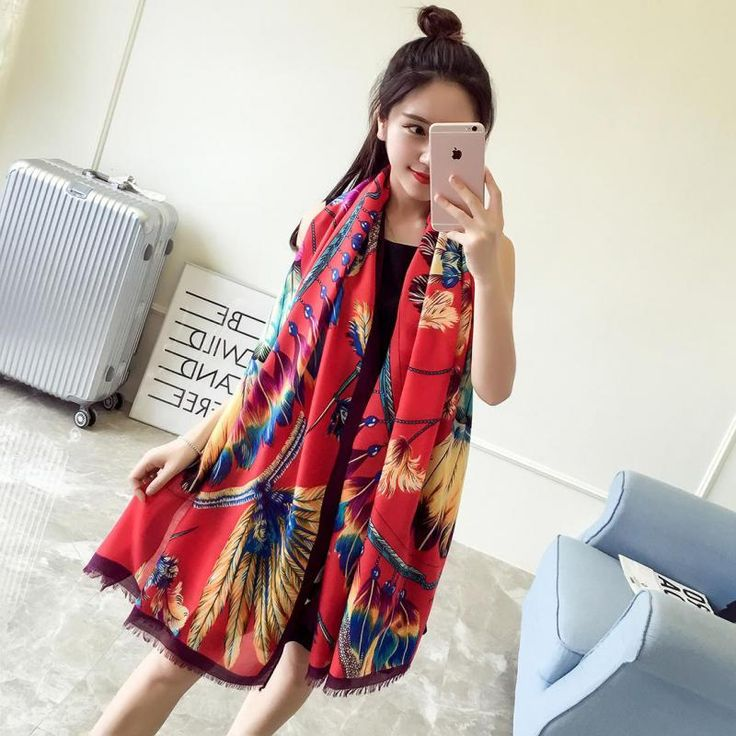 The New Lady Autumn Sunscreen Cotton Scarf Fashion Wild Warm Shawl Dual Use Ultra Long Womens Feather Scarf Foulard Mousseline