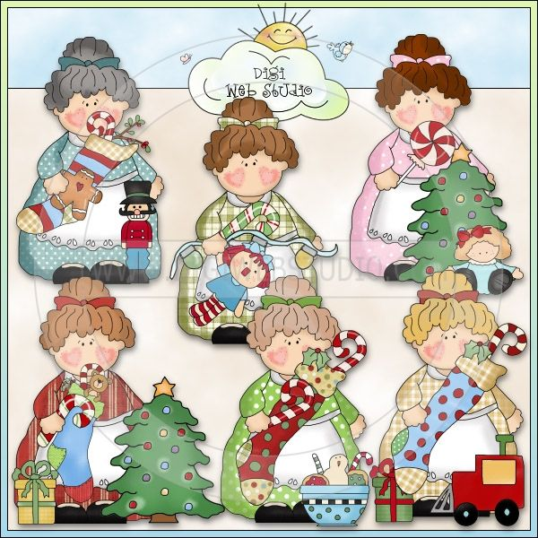 Housewife Holly Deck The Halls 1 - NE Cheryl Seslar Clip Art - Click Image to Close