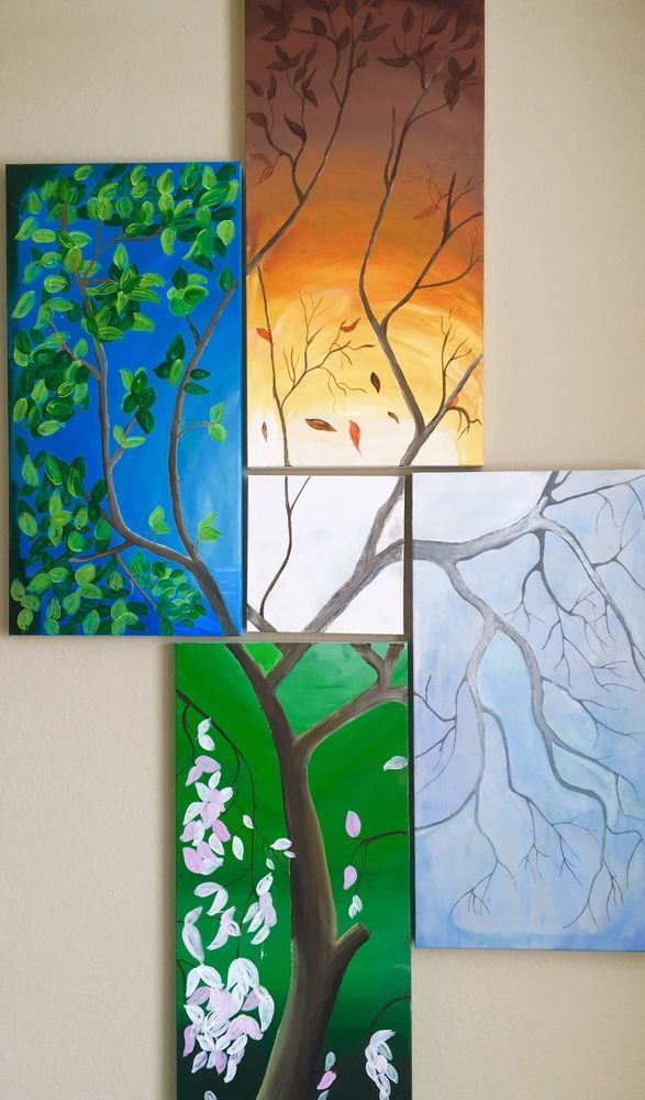 This would look awesome by the patio door  Four seasons (acrylic 5 piece painting set ) #Abstract