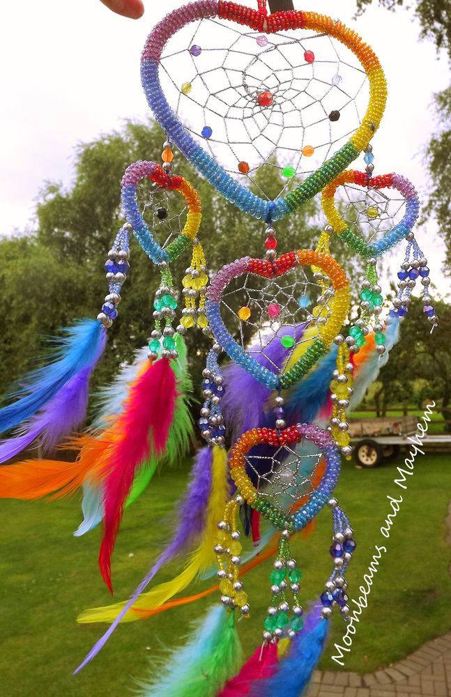 ♥ STUNNING RAINBOW BEADED HEART 'N' FEATHERS DREAM CATCHER WIND CHIME HIPPIE ~ ♥