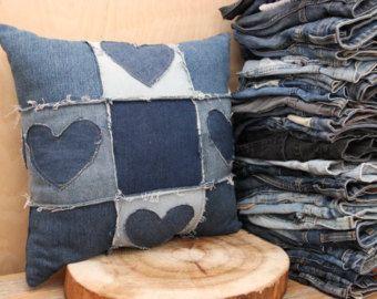 Cuscini Di Jeans.Denim Riciclato Cuscino Decorativo Blue Jeans Cuscino Cuscino