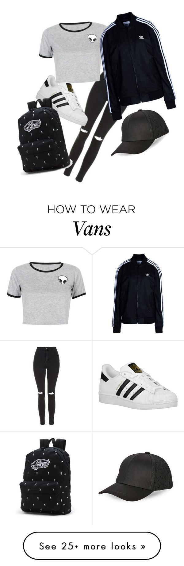 """""""perfect black and white piece"""" by abbielouise-xo on Polyvore featuring Topshop, WithChic, adidas Originals, Vans and BCBGeneration"""