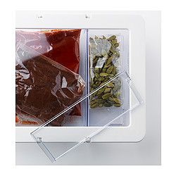 KRUS Dry food jar with lid, transparent, white - transparent/white - 24x19x7 cm - IKEA