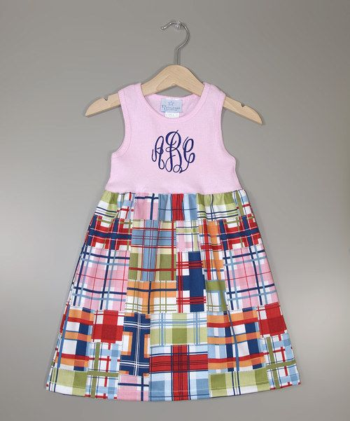Take a look at the Pink Plaid Monogram A-Line Dress - Infant, Toddler & Girls on #zulily today!