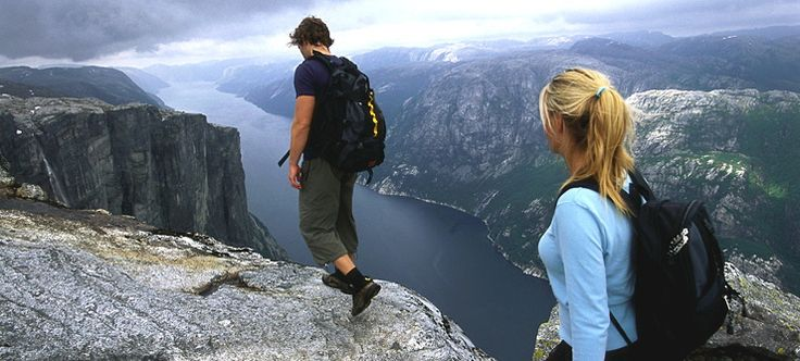 The Lysefjord is situated close to Stavanger, and is especially known for the mountain formations of Kjerag and Preikestolen (The Pulpit Rock).