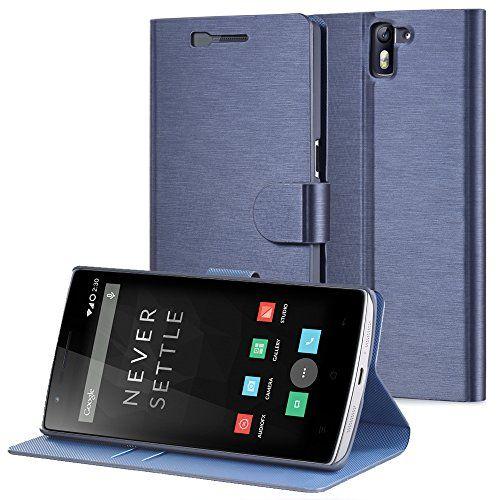 OnePlus One Wallet Case - GreatShield [SHIFT LX] Slim Leather Flip Cover Case for OnePlus One (Oxford Blue) GreatShield