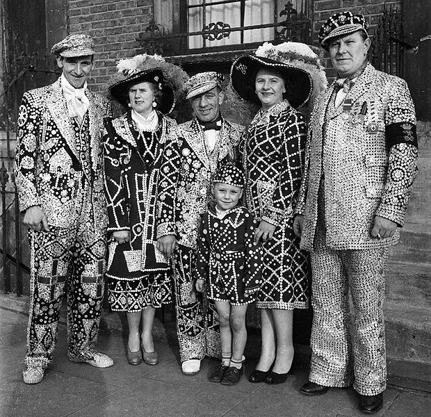 A family of Pearlies - London 1955