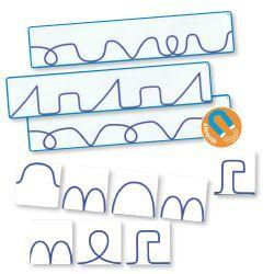 #dyslexie Chacune des 12 fiches modèles montrent une suite graphique distincte de boucles, de vagues, de creux, de pics…