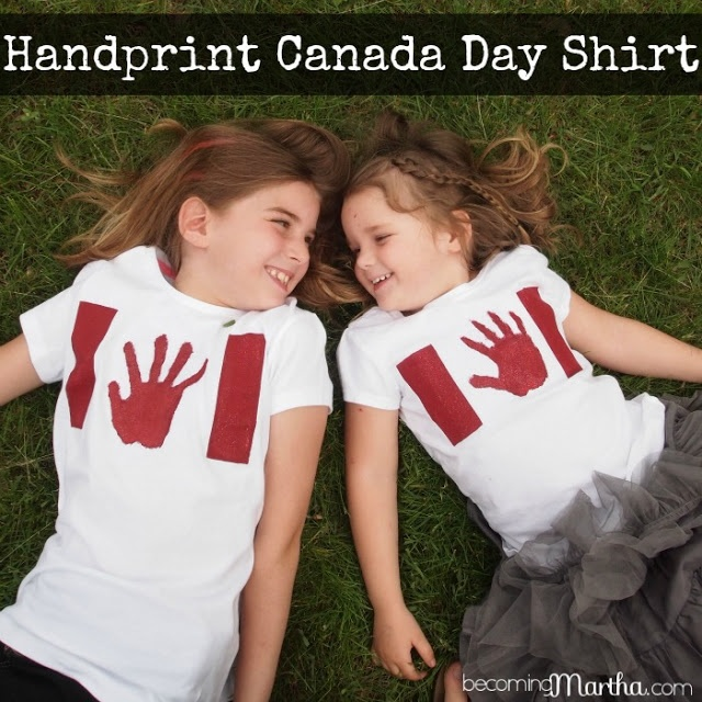 Becoming Martha: Handprint Canada Day Shirts - I love this idea!! @Krista Lii - something for the little ones?