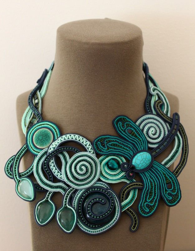 soutache dragonfly necklace in turquoise, teal and navy