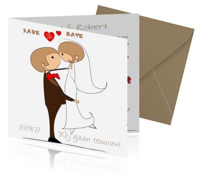 Grappige trouwkaarten bestellen in  cartoon stijl. Een aankondiging voor trouwen en het huwelijk met een bruidspaar.