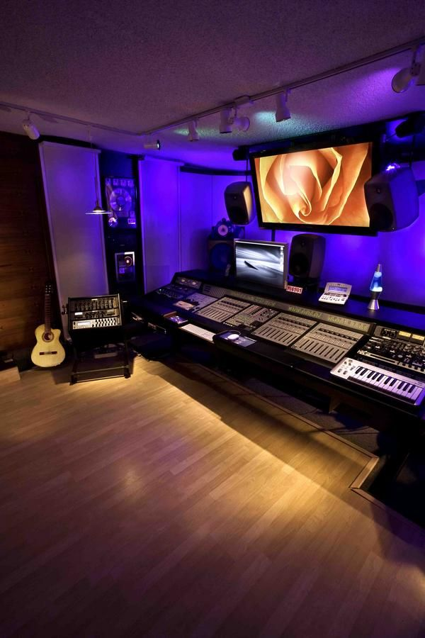 Nova church studio ideas with cool lighting and sound board for postproduction…