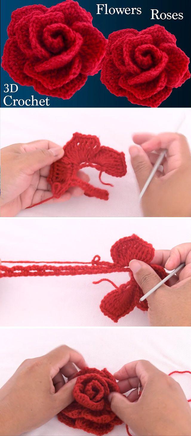 Wie man eine Rose 3D Blume leicht häkelt | CrochetBeja   – Taşlar