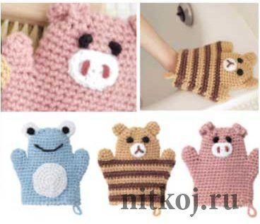 Детская мочалка-рукавичка