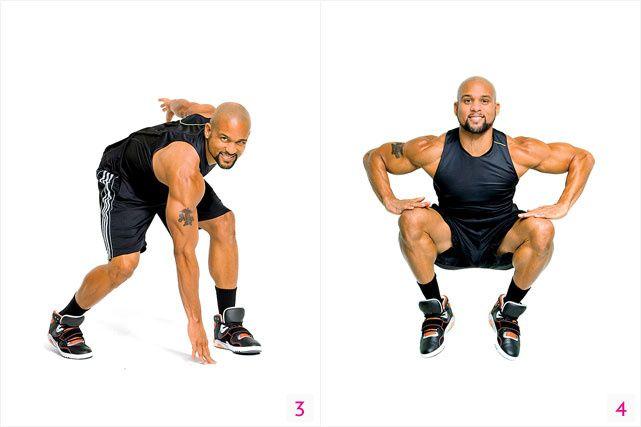 Locos y rápidos: Resultados en 6 movimientos. 3) Toca el piso. Empieza parada con las piernas abiertas a la altura de los hombros y los brazos a los lados. Agáchate y pon la mano derecha en el piso muy cerca al pie izquierdo, extiende el brazo izquierdo atrás de ti (como se muestra). Brinca y al caer cambia la posición de lado. Alterna manos y pies durante 1 minuto.