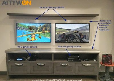 Basement VIDEO GAME retreat is complete with XBOX ONE, Wii U, Samsung TVs