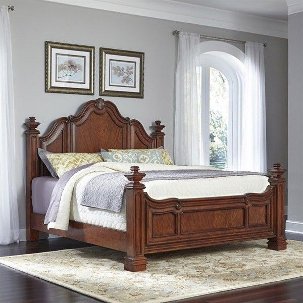 Home Styles Santiago Wood King Bed ($1,480) ❤ liked on Polyvore featuring home, furniture, beds, mahogany, wood furniture, timber furniture, european beds, euro furniture and european furniture
